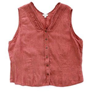 J JILL Women's Linen Sleeveless Blouse Tank Top XL